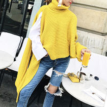 Cable Knit Casual Style Dolman Sleeves Street Style Plain