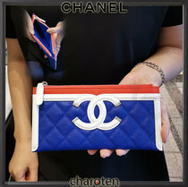 CHANEL ICON Unisex Calfskin Bi-color Plain Wallets & Small Goods