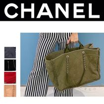 CHANEL DEAUVILLE Street Style A4 2WAY Chain Plain Elegant Style Shoulder Bags