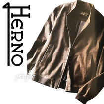 HERNO Short Unisex Street Style Plain Leather Biker Jackets