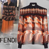 FENDI Silk Long Sleeves Other Animal Patterns Shirts & Blouses