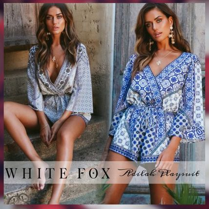 821bb7284b Short Dungarees Casual Style V-Neck Cropped Dresses. WHITE FOX