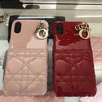 Christian Dior LADY DIOR Blended Fabrics Plain Leather Smart Phone Cases