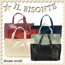 IL BISONTE Casual Style Plain Leather Totes