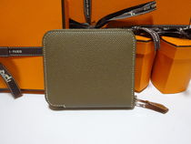 HERMES Silk In Unisex Blended Fabrics Plain Leather Accessories