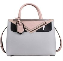 FENDI 2 JOURS 2WAY Plain Leather Elegant Style Totes