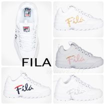 FILA Round Toe Lace-up Casual Style Street Style Plain