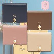 FENDI BY THE WAY Calfskin Studded Plain Folding Wallets