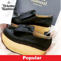 Vivienne Westwood Platform Unisex Plain Leather Fringes Shoes