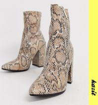 ASOS Casual Style Faux Fur Block Heels Python