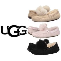 UGG Australia DAKOTA Platform Moccasin Sheepskin Plain Lace-Up Shoes