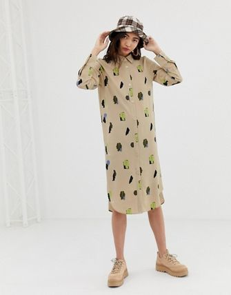 Casual Style Street Style Long Sleeves Medium Shirt Dresses