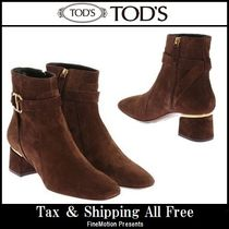 TOD'S Round Toe Rubber Sole Blended Fabrics Plain Leather Handmade