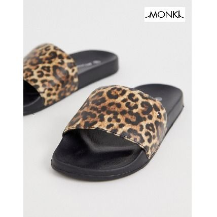 Leopard Patterns Open Toe Casual Style Street Style
