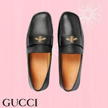 GUCCI Moccasin Plain Leather Loafers & Slip-ons