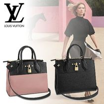 Louis Vuitton CITY STEAMER Calfskin A4 Bi-color Plain Elegant Style Handbags
