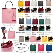 PRADA Casual Style Saffiano 2WAY Bi-color Plain Totes