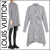 Louis Vuitton Short Stripes Blended Fabrics Flared Long Sleeves Cotton