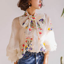 Flower Patterns Casual Style Chiffon Puffed Sleeves Medium