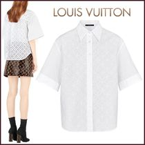 Louis Vuitton Short Flower Patterns Blended Fabrics Short Sleeves