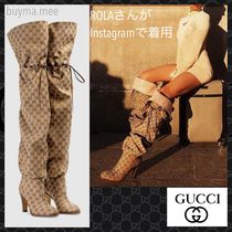 GUCCI Casual Style Block Heels High Heel Boots