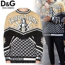 Dolce & Gabbana Crew Neck Monogram Unisex Tassel Long Sleeves Sweatshirts