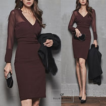 Tight V-Neck Long Sleeves Plain Medium Party Style Dresses