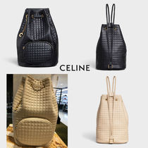 CELINE C Casual Style 2WAY Plain Leather Backpacks