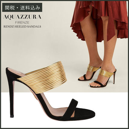 Open Toe Plain Leather Pin Heels Party Style Heeled Sandals