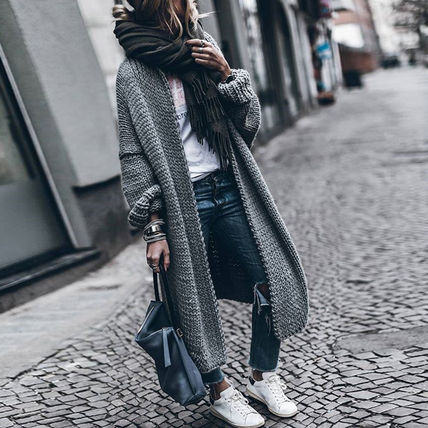 More Knitwear Cable Knit Dolman Sleeves Plain Cotton Long Office Style