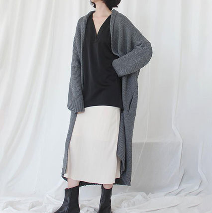 More Knitwear Cable Knit Dolman Sleeves Plain Cotton Long Office Style 5