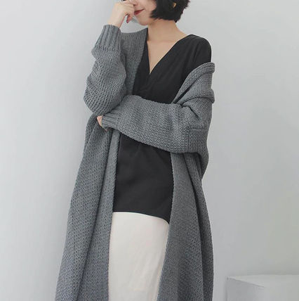 More Knitwear Cable Knit Dolman Sleeves Plain Cotton Long Office Style 6