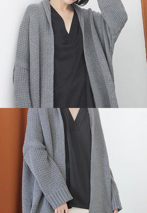 More Knitwear Cable Knit Dolman Sleeves Plain Cotton Long Office Style 7