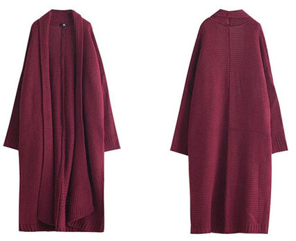 More Knitwear Cable Knit Dolman Sleeves Plain Cotton Long Office Style 10