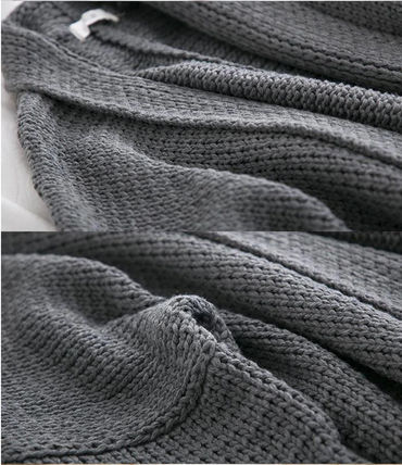 More Knitwear Cable Knit Dolman Sleeves Plain Cotton Long Office Style 12