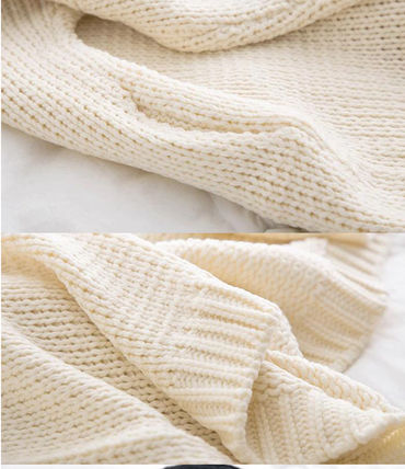 More Knitwear Cable Knit Dolman Sleeves Plain Cotton Long Office Style 13
