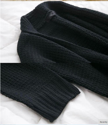 More Knitwear Cable Knit Dolman Sleeves Plain Cotton Long Office Style 14