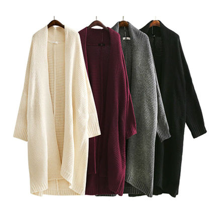 More Knitwear Cable Knit Dolman Sleeves Plain Cotton Long Office Style 17