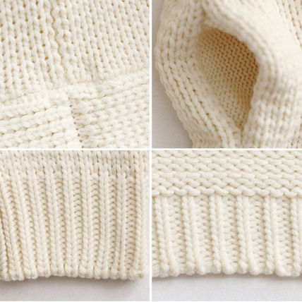 More Knitwear Cable Knit Dolman Sleeves Plain Cotton Long Office Style 19