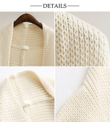 More Knitwear Cable Knit Dolman Sleeves Plain Cotton Long Office Style 20