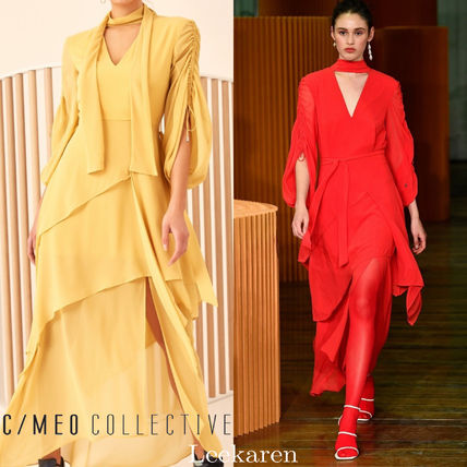 Maxi V-Neck Plain Long Puff Sleeves Dresses