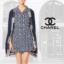 CHANEL Stripes Cashmere Rib Blended Fabrics Street Style