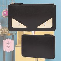 FENDI BAG BUGS Calfskin Studded Plain Pouches & Cosmetic Bags