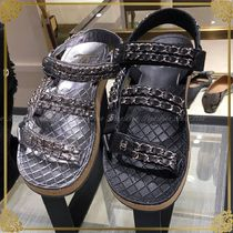 CHANEL Casual Style Chain Sport Sandals Flat Sandals