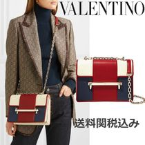 VALENTINO 2WAY Chain Plain Leather Crystal Clear Bags Elegant Style