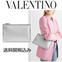 VALENTINO Studded Plain Leather Pouches & Cosmetic Bags