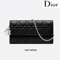 Christian Dior LADY DIOR Lambskin Chain Plain Long Wallets