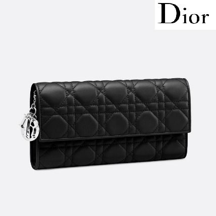 Christian Dior LADY DIOR Lambskin Chain Plain Long Wallets by mitb ... fc7e85a5680da