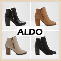 ALDO Round Toe Casual Style Plain Leather Block Heels