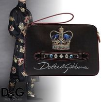 Dolce & Gabbana Unisex Calfskin Studded Bag in Bag With Jewels Clutches